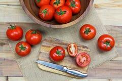 Pomodori maturi freschi del primo piano Fotografia Stock