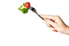Pomodori, pasta ed erba Fotografie Stock Libere da Diritti