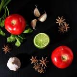 Pomodori, prezzemolo, cipolla verde, calce, anice stellato ed aglio Immagine Stock Libera da Diritti
