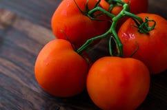 Pomodori rossi maturi su un fondo di legno Fotografia Stock