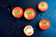Pomodori su fondo nero Fotografie Stock