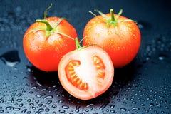 Pomodori su fondo nero Immagine Stock Libera da Diritti