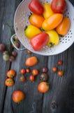 Pomodori sulla vecchia tavola di legno Pomodori variopinti Immagini Stock Libere da Diritti