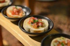Pomodoro Bruschetta, Bruschetta topping with tomato, garlic and Stock Image
