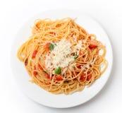 Pomodoro del al de los espaguetis desde arriba Foto de archivo libre de regalías