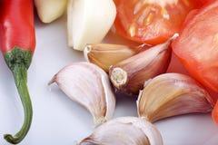 Pomodoro dell'aglio e pepe caldo Immagini Stock