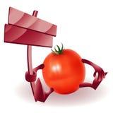Pomodoro divertente felice con il segno di legno Immagine Stock Libera da Diritti