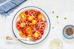 Pomodoro e Basil Salad immagine stock libera da diritti