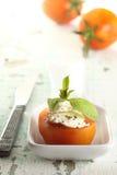 Pomodoro e formaggio bianco Fotografia Stock Libera da Diritti