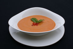 Pomodoro e minestra del basilico Fotografia Stock Libera da Diritti
