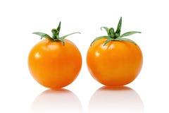 Pomodoro giallo isolato su bianco fotografia stock libera da diritti