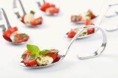 Pomodoro-mozzarella sul cucchiaio Immagine Stock