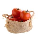 Pomodoro nel canestro isolato su un fondo bianco fotografia stock
