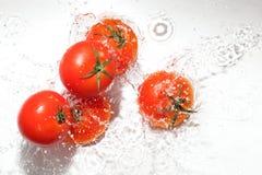 Pomodoro nell'acqua fotografie stock