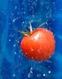Pomodoro nelle goccioline di acqua fotografia stock libera da diritti