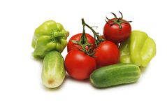 Pomodoro, pepe e cetriolo Fotografia Stock Libera da Diritti