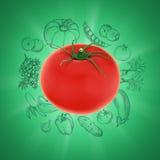 Pomodoro su fondo verde con gli schizzi di verdure Immagini Stock