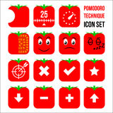 Pomodoro technique icon set Royalty Free Stock Image