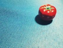 Pomodorotijdopnemer - mechanische tomaat gevormde keukentijdopnemer voor het koken of het bestuderen stock afbeelding
