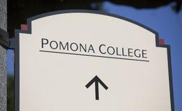 Pomona College Sign Stock Photos