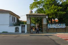 Orthodox monastery of St. George. Central entrance from the street of Knyaz Tsar Boris I. POMORIE, BULGARIA - AUGUST 18, 2017: Orthodox monastery of St. George Royalty Free Stock Photo