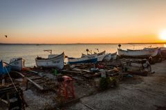 View of the water area and the fishing boats of the seaport of the seaside resort town of Pomorie. Royalty Free Stock Image