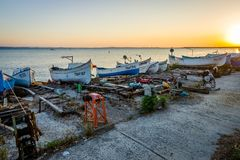 View of the water area and the fishing boats of the seaport of the seaside resort town of Pomorie. Stock Photography