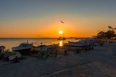 View of the water area and the fishing boats of the seaport of the seaside resort town of Pomorie. Stock Image