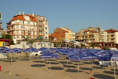 Pomorie, Bulgaria, July 22, 2014,Morning on the beach Stock Photos