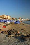 Pomorie, Bulgaria, July 22, 2014, Morning on the beach Stock Photos