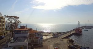 Pomorie - a city on the shore of a fishing bay in Bulgaria. Pomorie - famous resort town in Bulgaria. In summer it is a popular tourist destination, mainly from stock footage