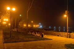 Night on the seaside boulevard in the Bulgarian Pomorie Stock Images
