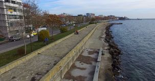Impeccable direct lines of the seaside promenade in Pomorie in Bulgaria stock footage