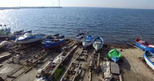 Old fishing pier in the Bulgarian Pomorie stock video footage