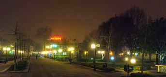 A foggy night in Pomorie. Bulgaria stock images