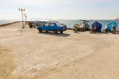 Pomorie Fischereihafen in Bulgarien Lizenzfreie Stockfotos