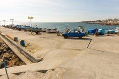 Pomorie Fischereihafen, Bulgarien Stockfotografie