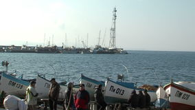 Pomorie fishermen before going out to sea in Bulgaria stock video footage