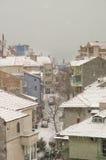 Pomorie: inverno, neve, e o Mar Negro em Bulgária Fotografia de Stock Royalty Free