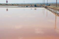 Pomorie salt extraktion i Bulgarien Arkivbild
