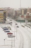 Pomorie: street, traffic light, winter, snow in Bulgaria stock image