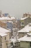 Pomorie: winter, snow, and the Black Sea in Bulgaria royalty free stock photography