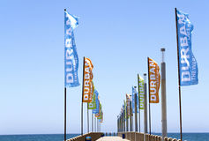Pomotional Banners on Empty Pier on North Beach Stock Photo