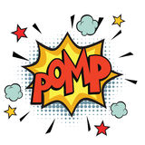 Pomp comic word. Pop art retro vector illustration Royalty Free Stock Images