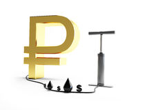 Pomp ruble dollar oil. 3d Illustrations on a white background Royalty Free Stock Image