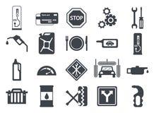 Pompa del carburante, icone della stazione di servizio Fotografia Stock