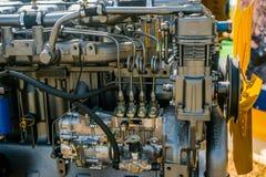 Pompa del metallo, motore, parti per macchinario agricolo fotografia stock