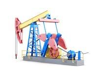 Pompa del pozzo di petrolio isolata su fondo bianco 3d rendono i cilindri di image Immagini Stock Libere da Diritti