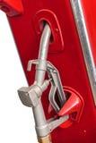Pompa della benzina rossa dell'annata isolata su bianco Immagini Stock