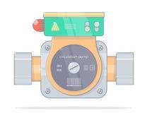 Pompa di circolazione Stile realistico del fumetto Illustrazioni per il deposito online di impianto idraulico Isolato sul backgro illustrazione di stock